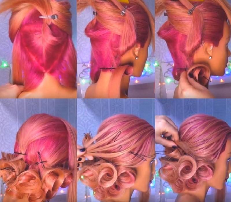 причёска на выпускной «Розы из волос», выполнение поэтапное с фото