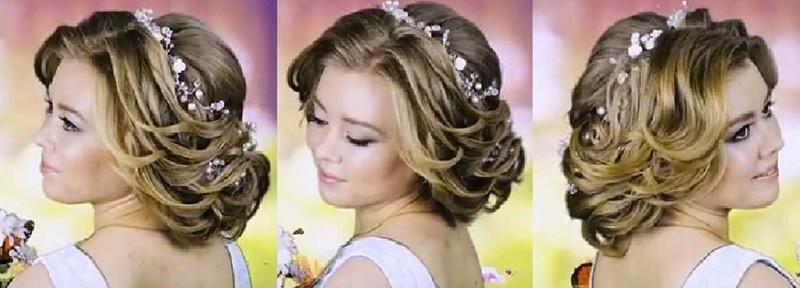 Роскошная причёска на выпускной, собранная из локонов