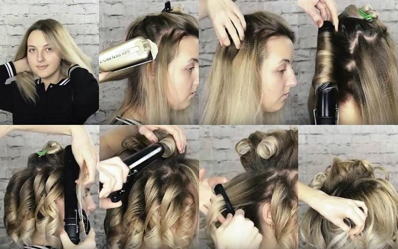 Роскошная причёска из объёмных локонов - фото инструкция выполнения