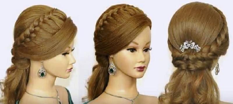Изящная причёска с косами и распущенными волосами