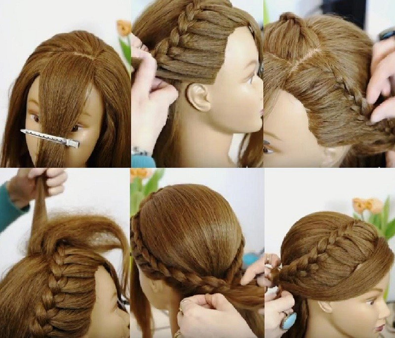 Изящная причёска с косами и распущенными волосами - выполнение пошагово фото