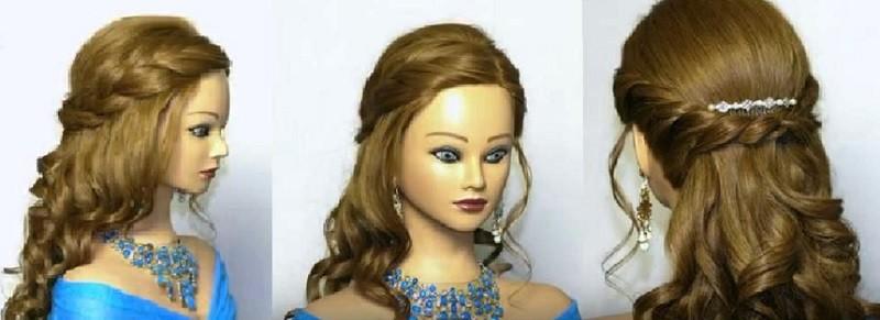 Прическа на выпускной с косами и распущенными волосами