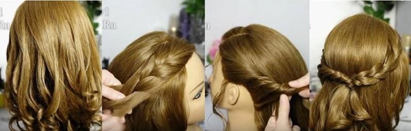 Прическа на выпускной с косами и распущенными волосами - фото выполнения