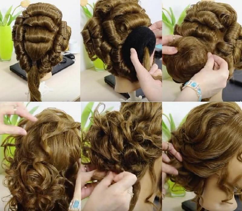 Романтическая прическа на выпускной на длинные волосы, пошаговое выполнение с фото