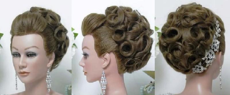 Изысканная причёска из завитков для длинных волос