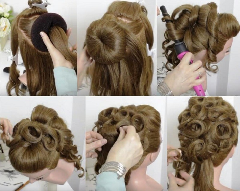 Изысканная причёска из завитков для длинных волос, фото выполнения прически