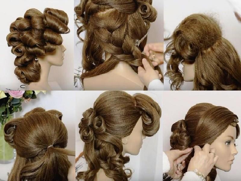 Объёмная коса набок, украшенная локонами - выполнение поэтапно