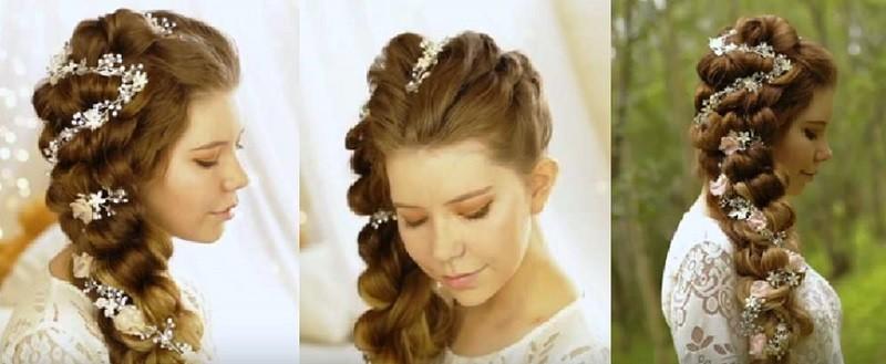 Красивая коса из резинок на выпускной