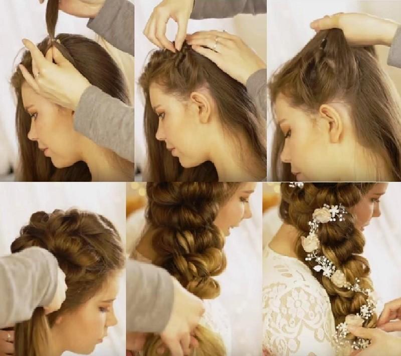Роскошная коса из резинок, фото поэтапного выполнения