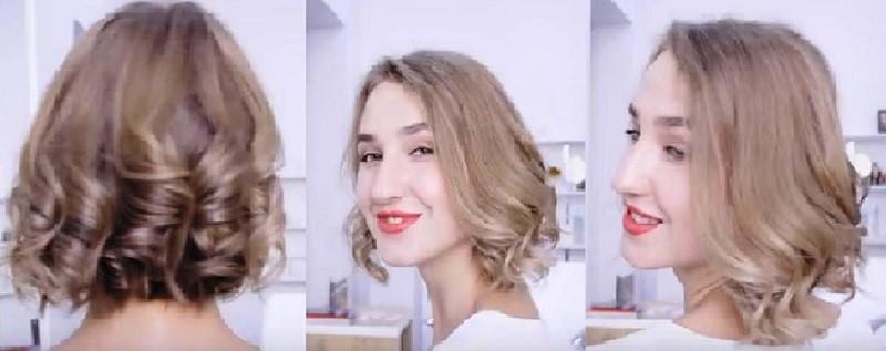 Кудряшки на короткие волосы 2 вариант