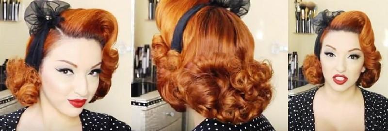 Прическа ретро-стиль на короткие волосы 2 вариант