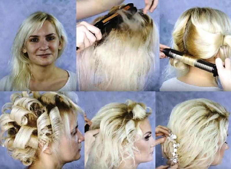 Прическа с челкой для коротких волос, выполнение поэтапно