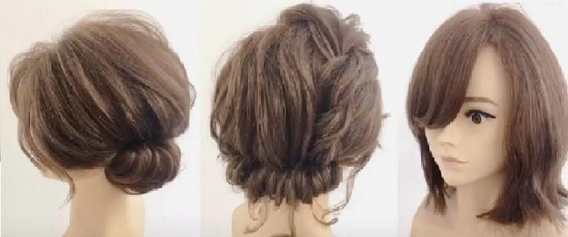 Прическа с челкой для коротких волос, 2 вариант выполнения