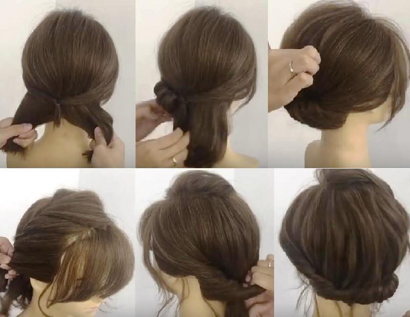 Прическа с челкой для коротких волос, 2 вариант выполнения поэтапно с фото