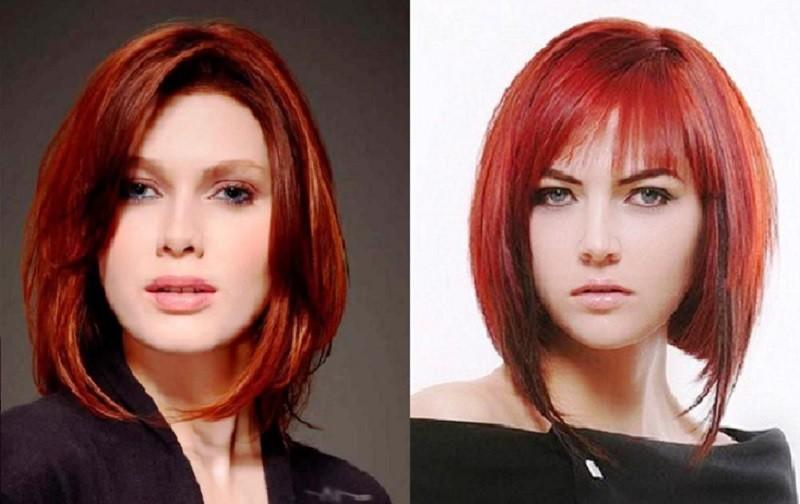 Удлиненное каре для рыжих волос