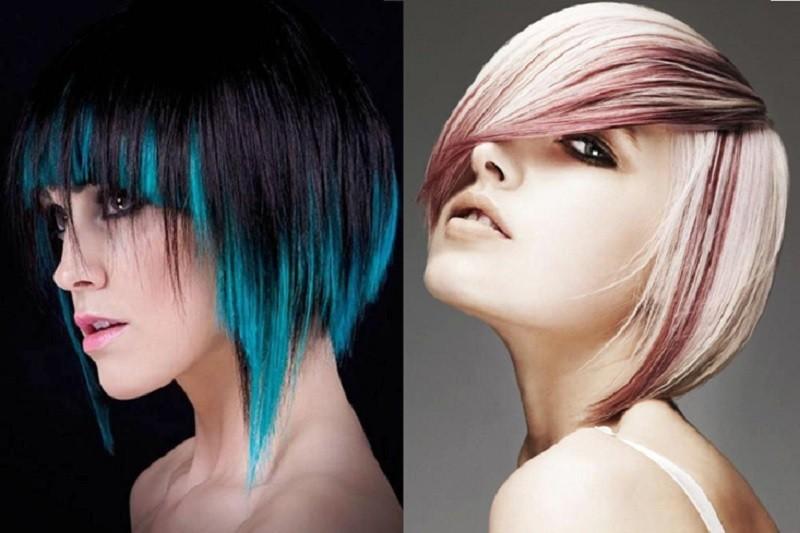 Креативное окрашивание асимметричного Каре для светлых и тёмных волос