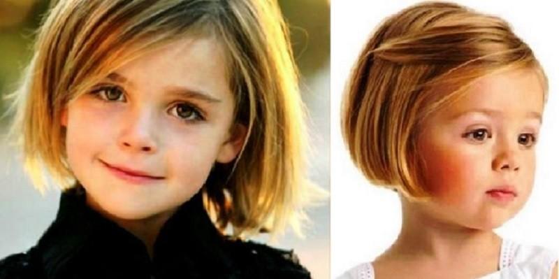 Каре с косой набок челкой для девочек