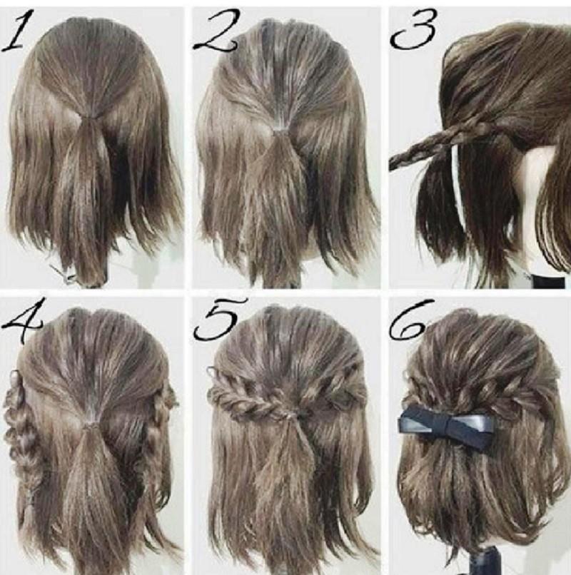 Объемная укладка с обрамлением из кос