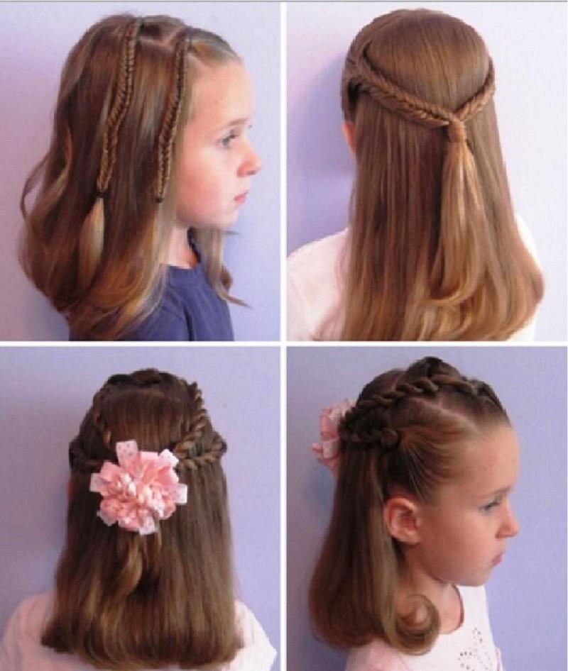 Укладка на средние волосы маленькой девочке