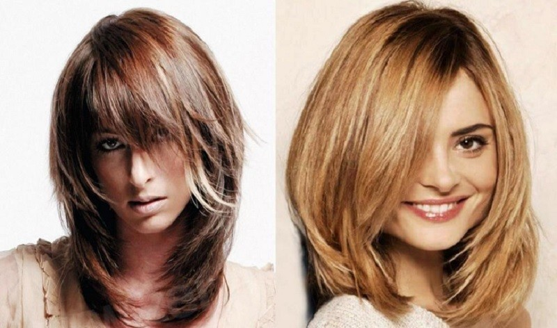 Каре «Каскад» на средние волосы