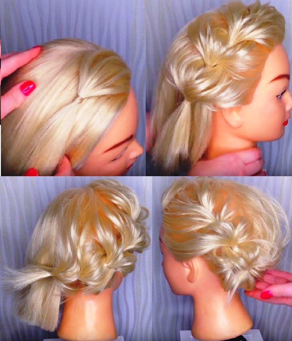 Круговая коса из резинок на каре средней длины фото пошагово