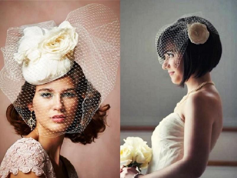 Прическа для невесты на каре с вуалью