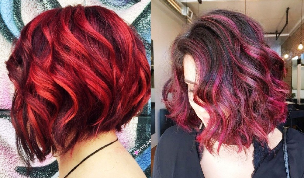 Сочные вишневые и огненно-красные переливы цветов балаяж