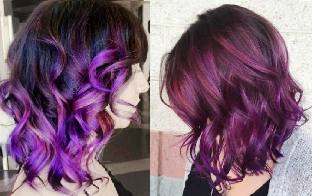 Фиолетовый и баклажанный тона балаяж