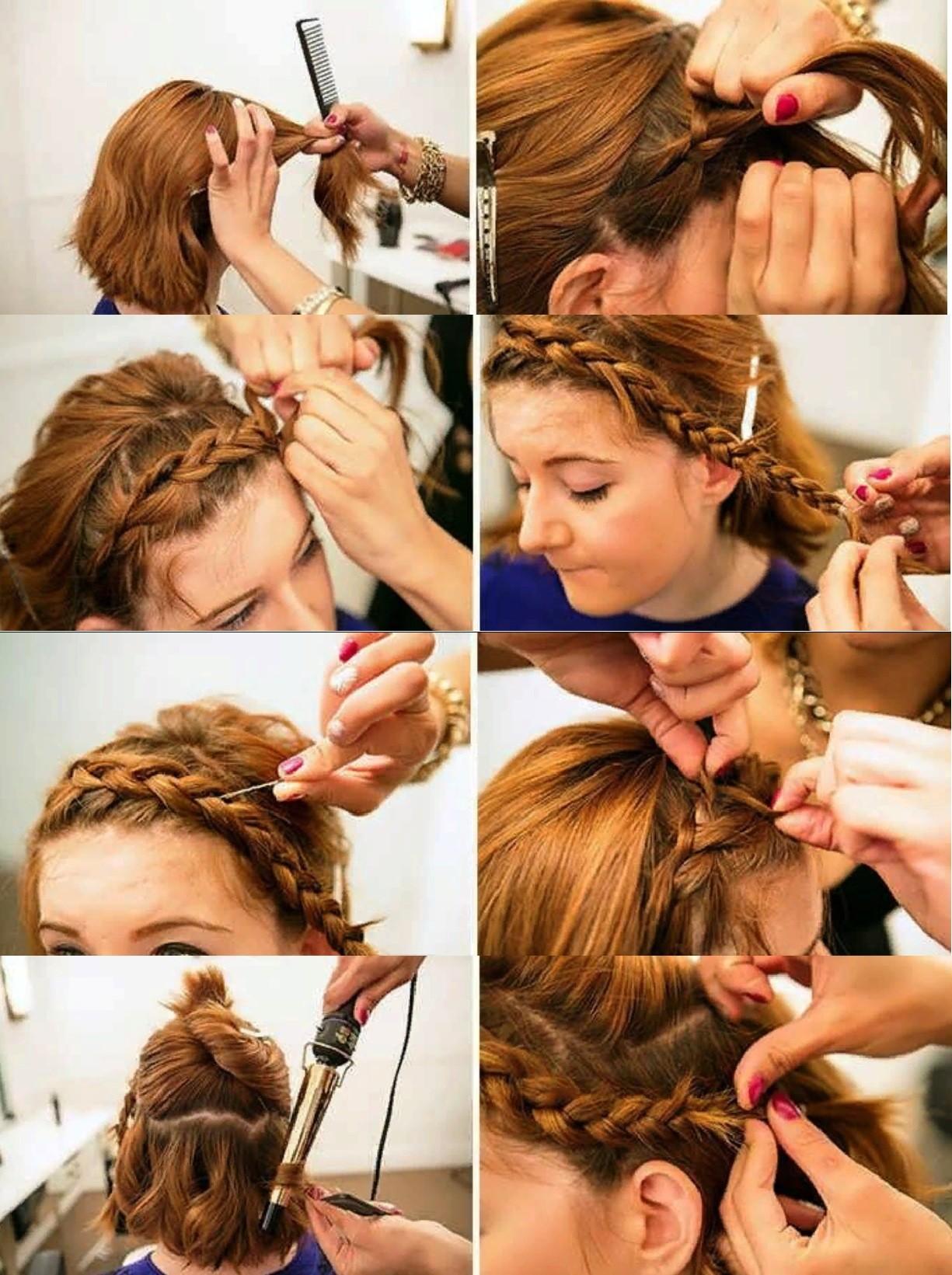 Коса-ободок на каре - поэтапное выполнение