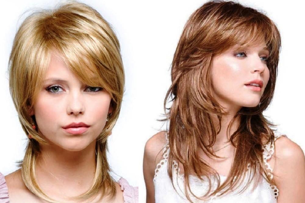 Каскад на средние волосы для круглого лица