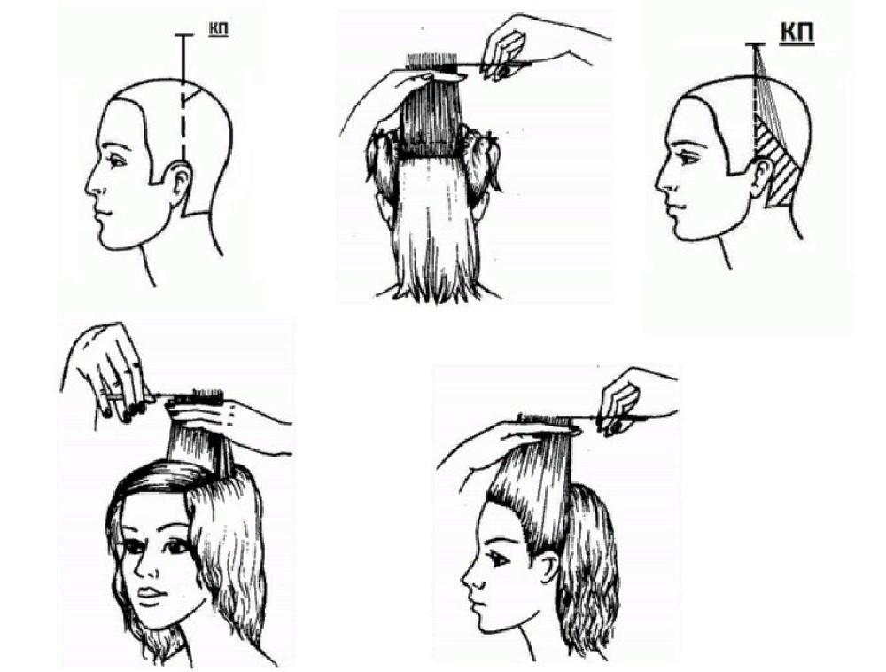 Как подстричь градуированный каскад - схема стрижки