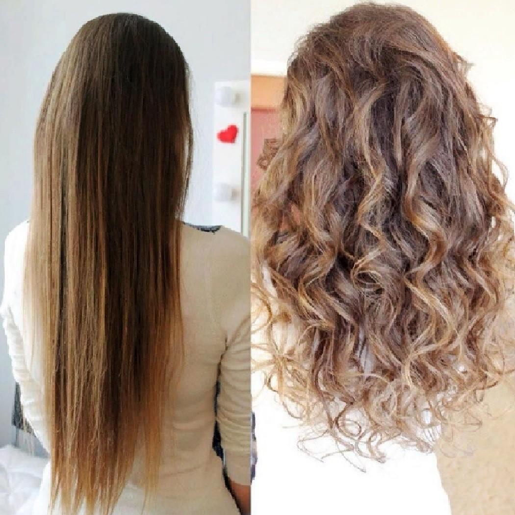 Фото биозавивки на длинных волосах