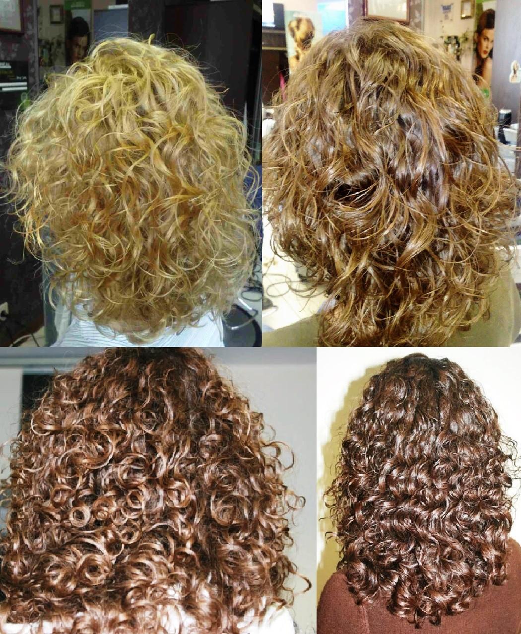 Биозавивка на средних волосах вид сзади