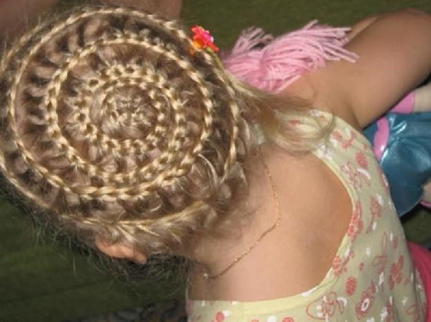 Коса-корзина в виде плотного плетения вокруг головы