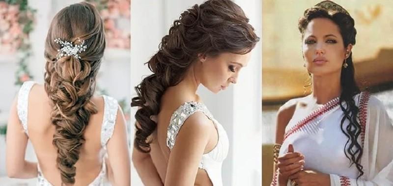 Прическа на выпускной на длинные волосы с прямой челкой