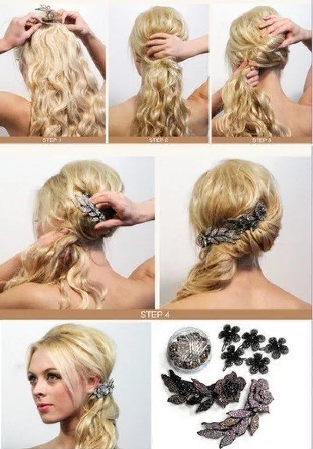 Как сделать прическу на торжество на средние волосы